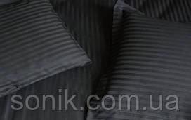 Комплект постельного белья страйп сатин черный 1*1  1,5сп
