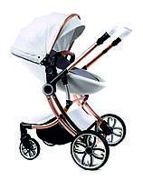 Детская универсальная комбинированная коляска 2в1 для новорожденных детей с поворотным блоком белая с золотым