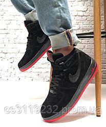 Мужские кроссовки зимние Nike Air Force High (мех) (черные)