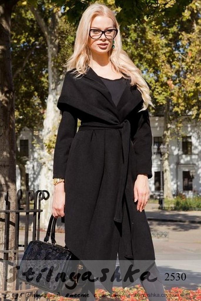 Пальто женское с капюшоном классическое на запах черное