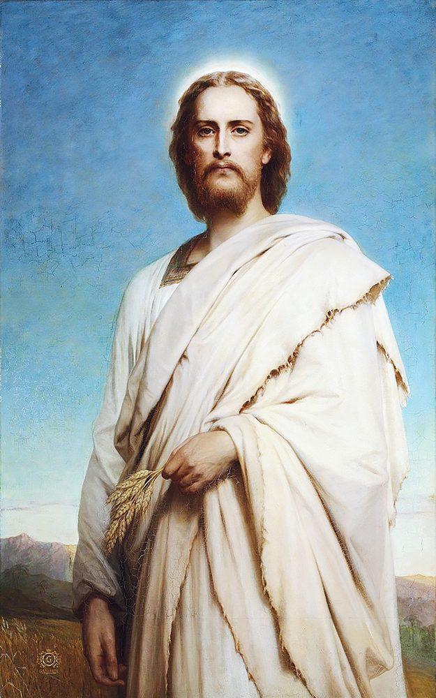 Алмазная вышивка мозаика Чарівний діамант икона Иисус на ниве КДИ-0948 50х80см 30цветов квадратные полная