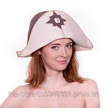 Шапка для сауны  Наполеон комбинированный натуральный войлок,  шапка для бани, сауны