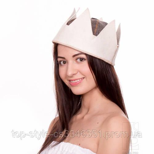 Шапка для сауны Царь (комбинированный натуральный войлок), шапка для бани, сауны