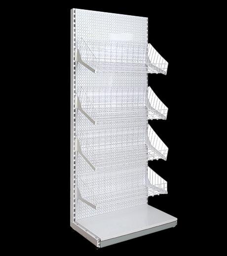 Стелаж з сітчастими кошиками приставний, металевий, стеллаж с сетчатыми корзинами 1900*600