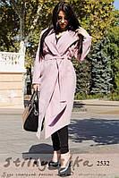 Пальто женское с капюшоном классическое на запах розовое, фото 1