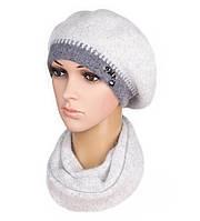 Комплект женский вязаный берет и шарф Inga ангора цвет серый, фото 1