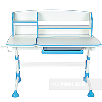 Комплект для школьника парта FunDesk Amare II Blue + кресло для дома FunDesk Bello II Blue, фото 2