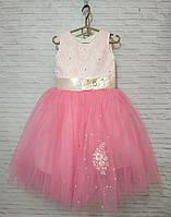 Детское нарядное платье для девочки Розочки 4-5 лет, розового цвета, фото 1