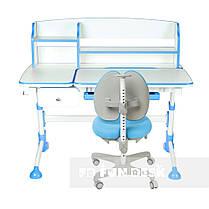 Комплект для школьника парта FunDesk Amare II Blue + кресло для дома FunDesk Bello II Blue, фото 3