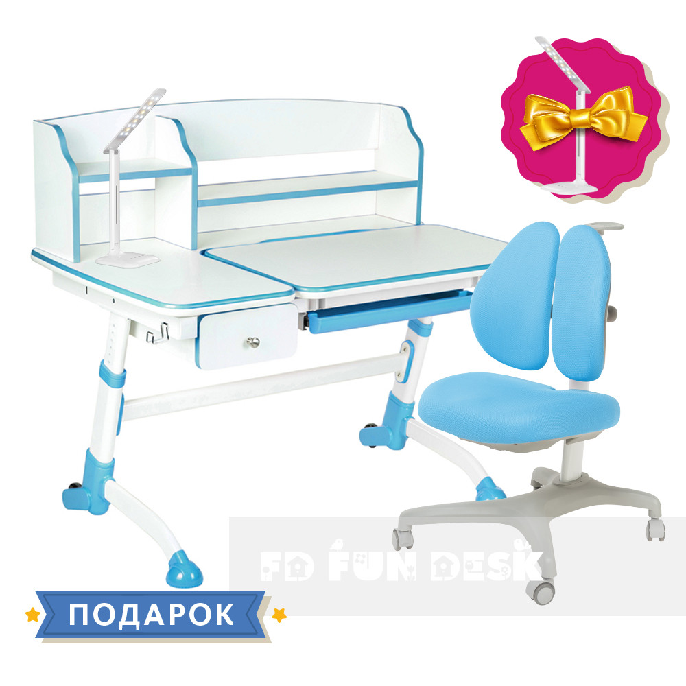 Комплект для школьника парта FunDesk Amare II Blue + кресло для дома FunDesk Bello II Blue