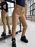 Женские брюки из эко-кожи утепленные на велюре с ремнем, фото 10