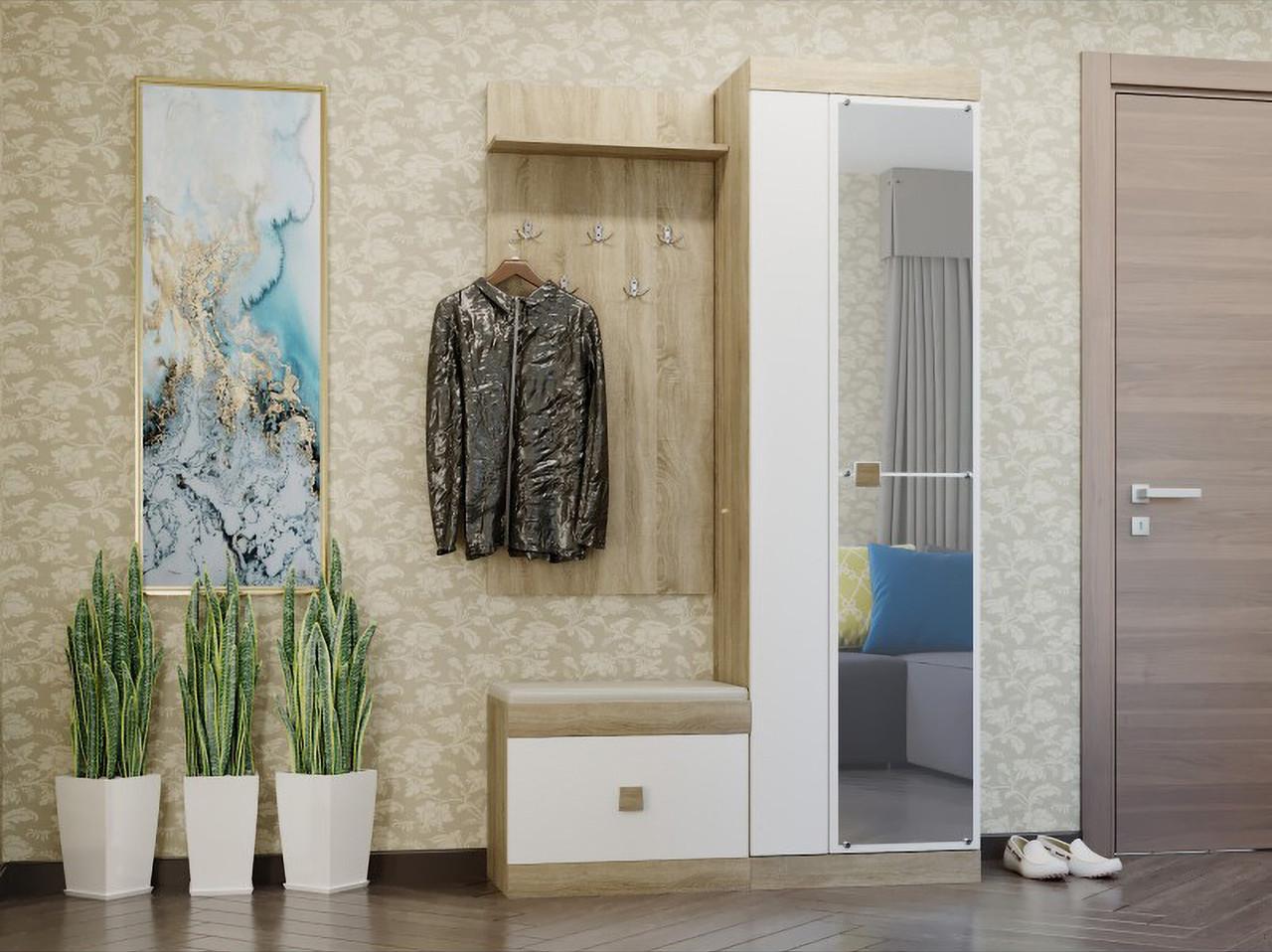 Прихожая Соната комплект 3 с зеркалом ЭВЕРЕСТ Дуб сонома + Белый