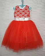 Дитяча сукня для дівчинки Трояндочки 4-5 років, червоного кольору, фото 1