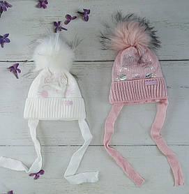 Зимова шапочка для дівчинки на зав'язках Розмір 40-42 Мікс KR1829(40-42) Щасливе дитинство Україна
