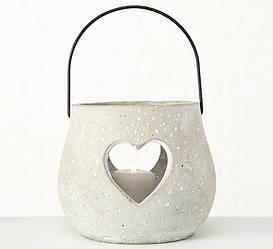 """Подсвечник с ручкой """"Каменное сердце"""" серый бетон h15см Boltze 1004636"""