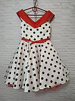 Дитяча сукня для дівчинки Ретро шалька горох 6-7 років, білого кольору, фото 1
