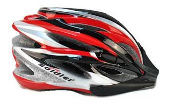 Шлем велосипедный с козырьком Красно-серебристый