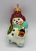 Стеклянная Ёлочная игрушка на ёлку ручной работы, формавая ёлочная игрушка мальчик с фонариком