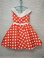 Детское нарядное платье для девочки Ретро шалька горох 6-7 лет, красного цвета, фото 1