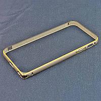 Бампер для iPhone 5/5S, ультратонкий на защелке, алюминиевый, Fashion case, Серый с золотистой /чехол/кейс/case/защита /айфон