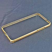 Бампер для Samsung Galaxy Core 2 G355, на защелке, алюминиевый, Fashion case, Золотой с золотистой /чехол/кейс/case/защита /самсунг галакси