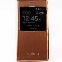 Чехол-книжка для Samsung Galaxy S5 G900h, S View Cover, боковой, Бронзовый /flip case/флип кейс /самсунг галакси