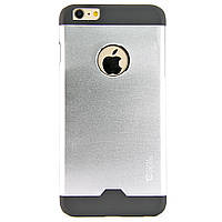 Чехол-накладка для iPhone 6 Plus, поликарбонат с металической вставкой, Cococ, Серебристый /case/кейс /айфон
