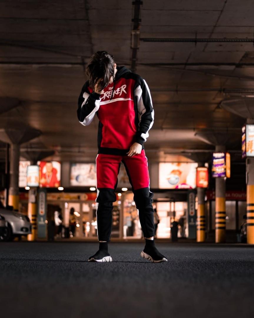 BREAKER Мужской зимний спортивный костюм красный утепленный с капюшоном. Худи  красное, штаны красные