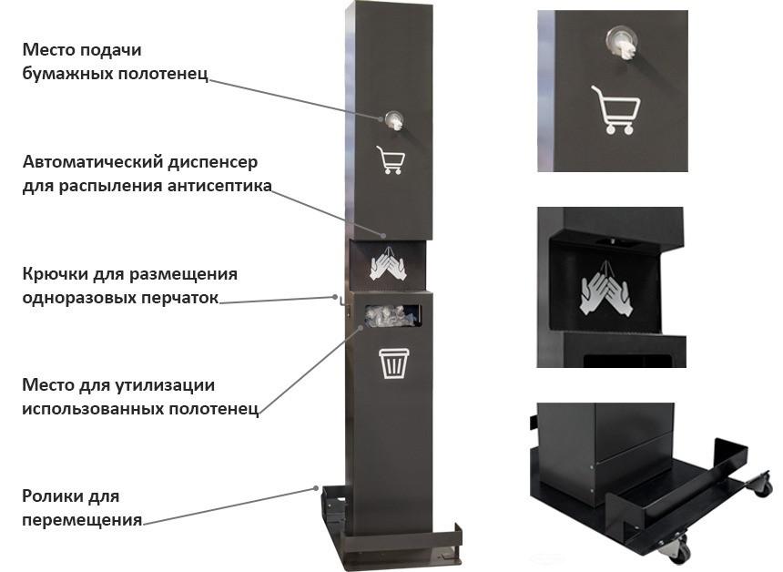 Передвижная металлическая стойка для дезинфекции рук с автоматическим дозатором  ГС-19