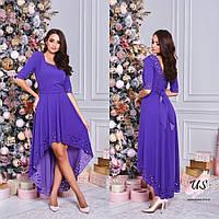Вечернее асимметричное платье с перфорацией. 7 цветов!