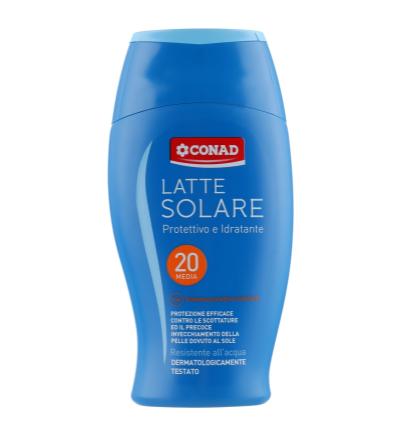 Conad Latte Solare P20 - Захисне молочко UVA/UVB SPF 20, 200 мл (540025)