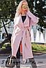 Пальто женское Японка с накладными карманами пудра