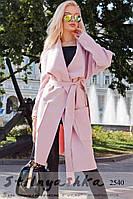 Пальто женское Японка с накладными карманами пудра, фото 1