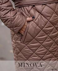 Пальто женское демисезонное на холодную осень с капюшоном стеганое размеры, фото 3