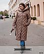 Пальто женское демисезонное на холодную осень с капюшоном стеганое размеры, фото 6