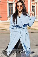 Пальто женское Японка с накладными карманами голубое