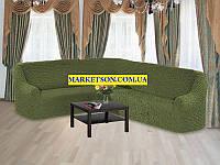 Универсальный натяжной чехол Без юбки (без оборки, без рюши) на Угловой диван