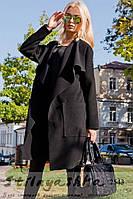 Пальто женское Японка с накладными карманами черное