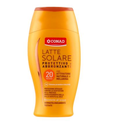 Conad Latte Solare P20 - Молочко для загара UVA/UVB SPF20, 200 мл (540050)