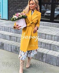 Жіноче пальто кашемірове в класичному стилі з поясом (Норма)