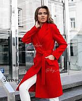 Женское пальто кашемировое в классическом стиле с поясом (Норма)