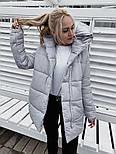 Жіноча зимова куртка подовжена з капюшоном в кольорах (Норма), фото 6