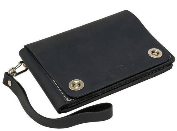 Удобное дорожное вместительное портмоне на кнопках из натуральной кожи Black Brier ТК-3-35Р черный, фото 2