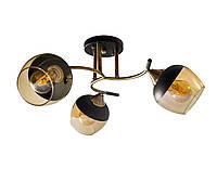 Люстра стельова на три чайних плафона з чорним напиленням SR 3801-3
