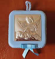 Икона серебряная детская Два Ангела музыкальная для мальчика, фото 1