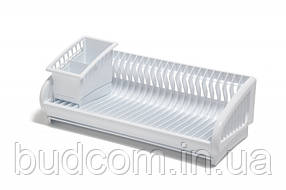 Сушилка для посуды пластик одноярусная с подставкой для столовых приборов на 24 тарелки Белая роза