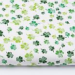 """Лоскут ткани """"Листики клевера"""" зелёные на белом фоне №3085а, размер 27*160см, фото 2"""