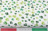 """Лоскут ткани """"Листики клевера"""" зелёные на белом фоне №3085а, размер 27*160см, фото 3"""