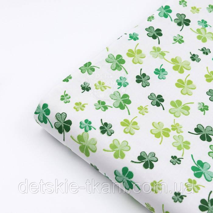 """Лоскут ткани """"Листики клевера"""" зелёные на белом фоне №3085а, размер 27*160см"""