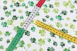 """Лоскут ткани """"Листики клевера"""" зелёные на белом фоне №3085а, размер 27*160см, фото 6"""